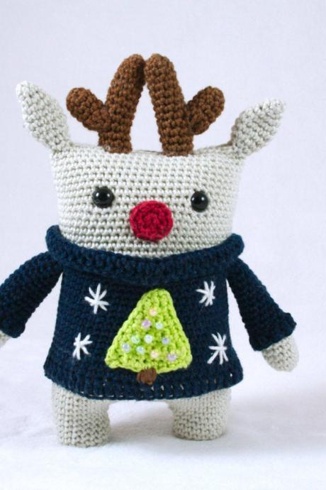 Rudy the square reindeer - crochet pattern